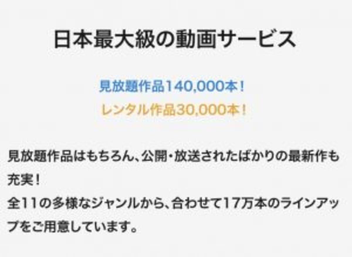 見放題作品14万作で無料 レンタル作品3万作でレンタル料あり(324~540円)