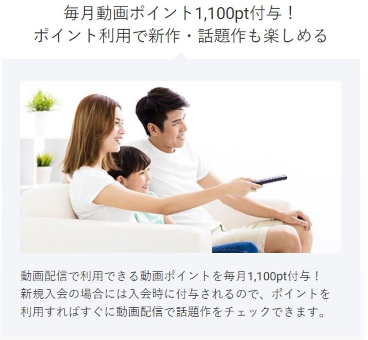 TSUTAYA TVは毎月も動画ポイント1,100ptがもらえる