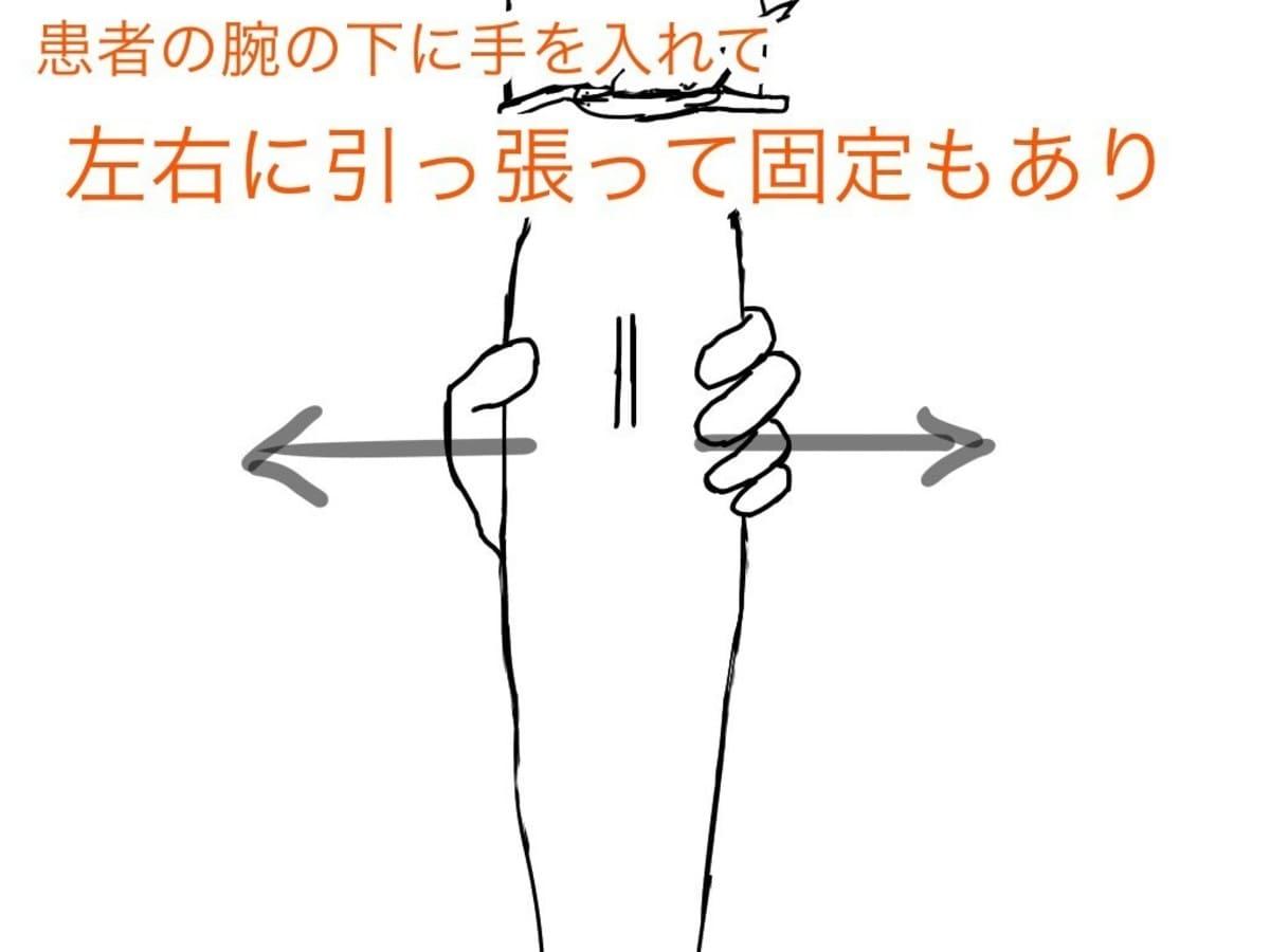 血管が固定できて、針刺し事故を起こさない方法であれば、血管を固定する方法は、自分独自の方法でよいと思います。