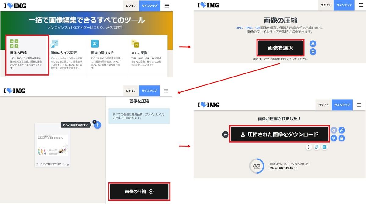 ILOVEIMGでの画像圧縮の方法【画像最適化②】